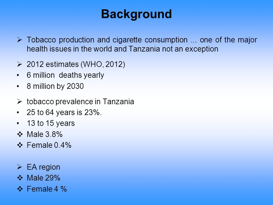 Background Tobacco production and cigarette consumption ... one of the major health issues in the world and Tanzania not an exception.