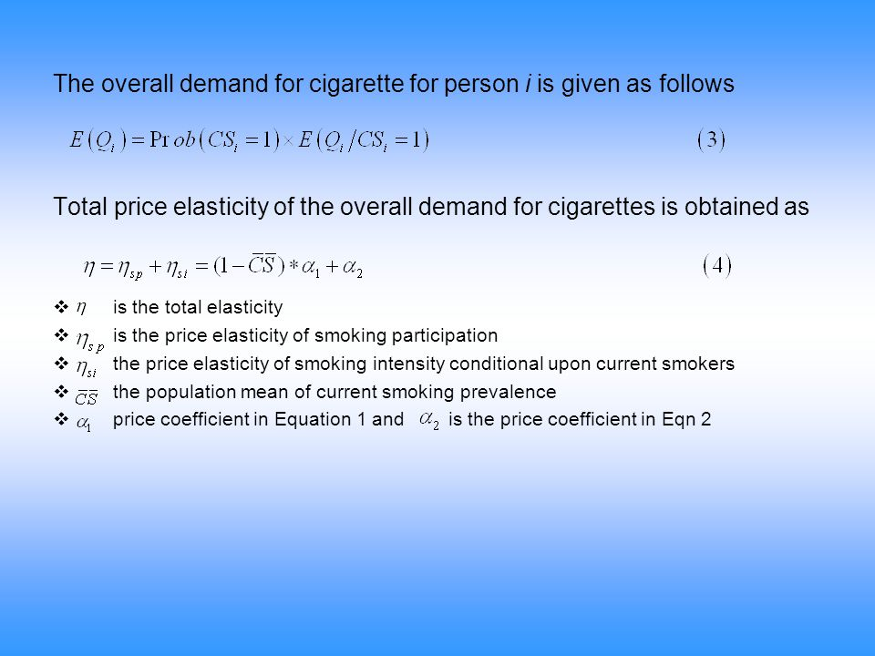 The overall demand for cigarette for person i is given as follows