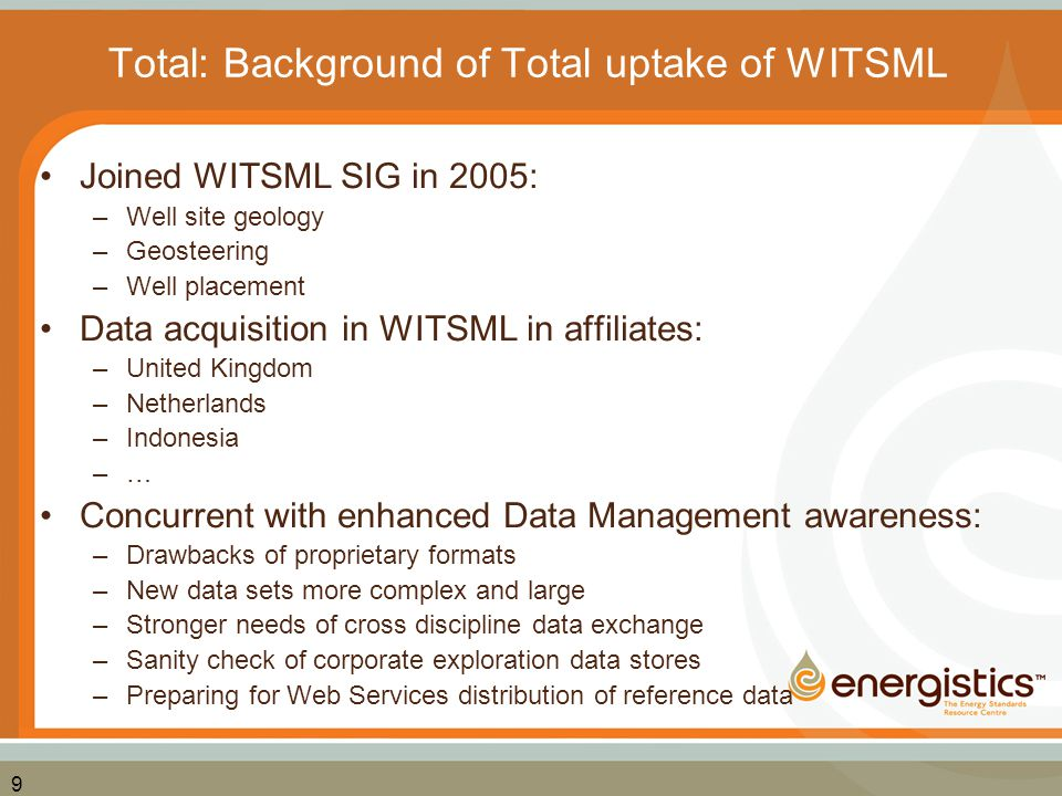 Total: Background of Total uptake of WITSML