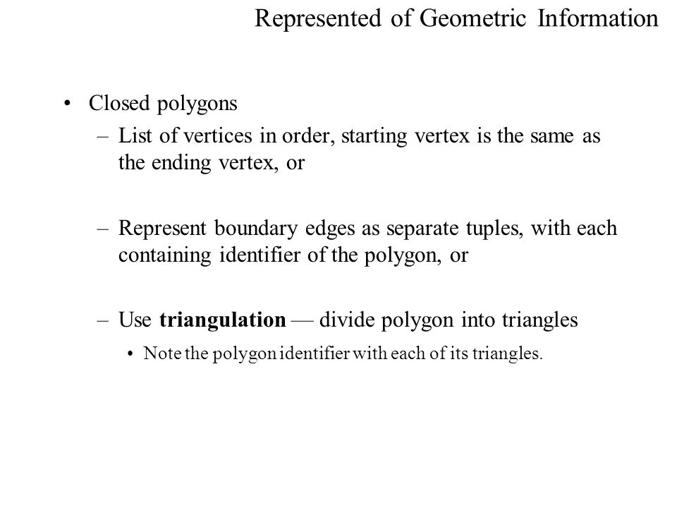 Represented of Geometric Information
