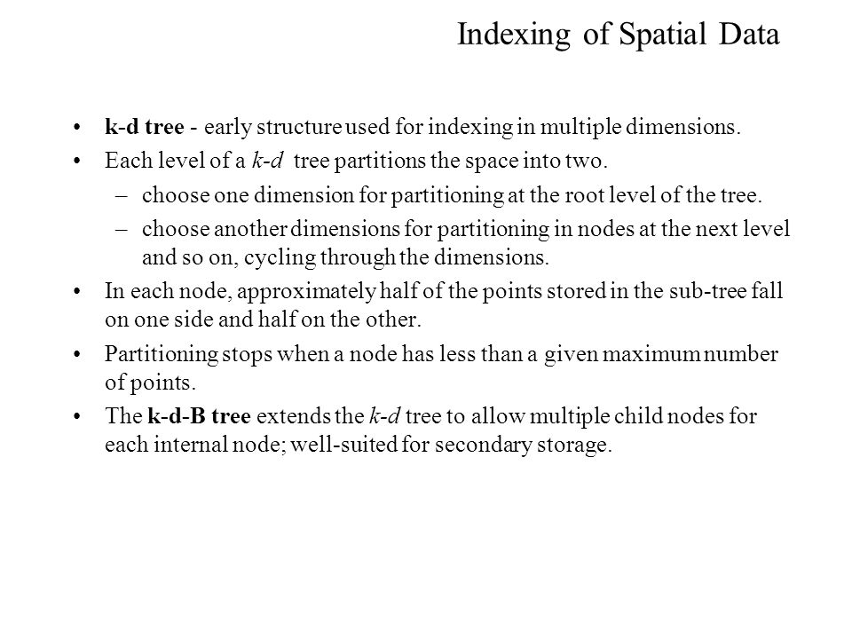 Indexing of Spatial Data