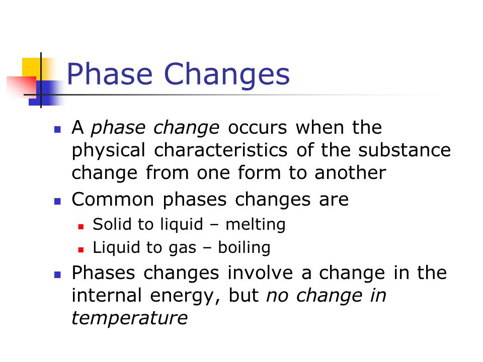 Phase Changes A phase change occurs when the physical characteristics of the substance change from one form to another.