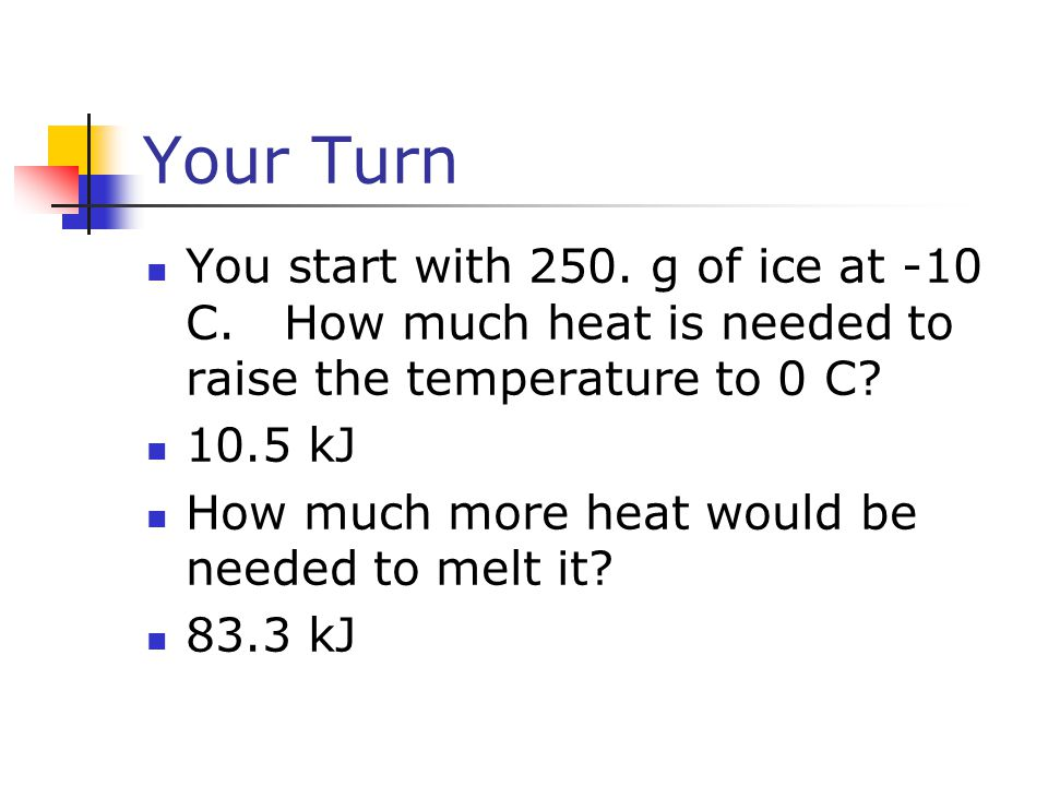 Your Turn You start with 250. g of ice at -10 C. How much heat is needed to raise the temperature to 0 C