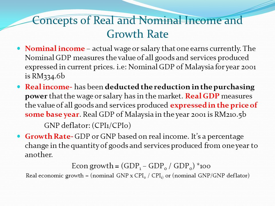 Concepts of Real and Nominal Income and Growth Rate