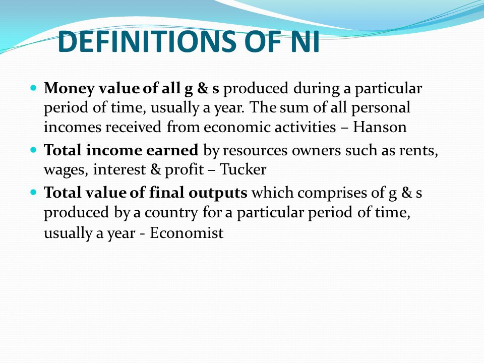 DEFINITIONS OF NI
