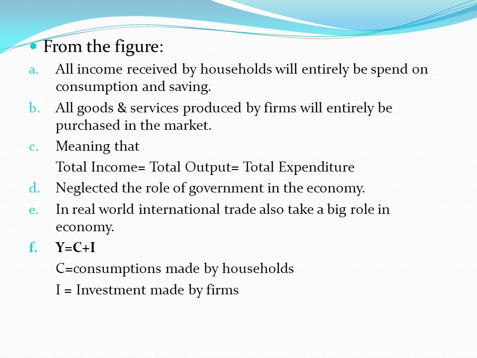 From the figure: All income received by households will entirely be spend on consumption and saving.