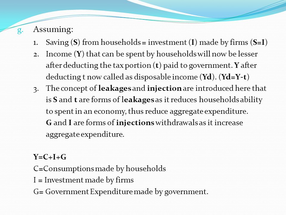 1. Saving (S) from households = investment (I) made by firms (S=I)