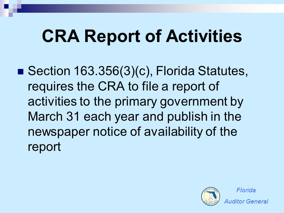 CRA Report of Activities