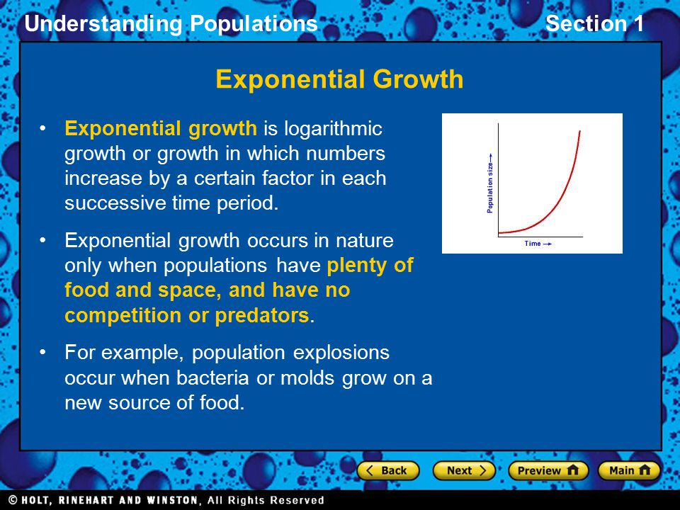 Exponential Growth Exponential growth is logarithmic growth or growth in which numbers increase by a certain factor in each successive time period.