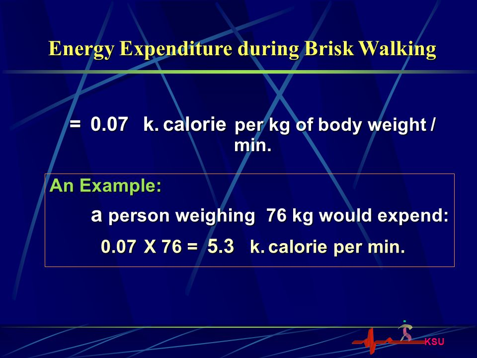 = 0.07 k. calorie per kg of body weight / min.