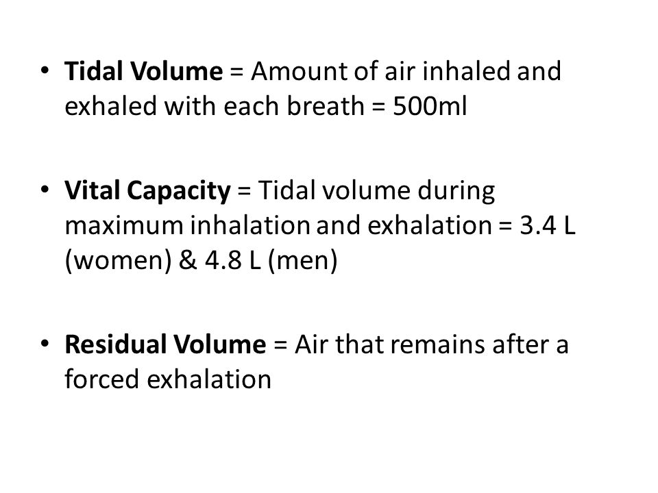Tidal Volume = Amount of air inhaled and exhaled with each breath = 500ml