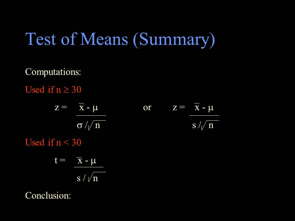 Test of Means (Summary)