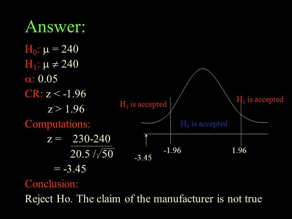 Answer: H0:  = 240 H1:   240 : 0.05 CR: z < -1.96 z > 1.96