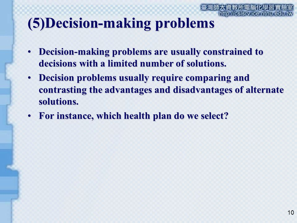 (5)Decision-making problems