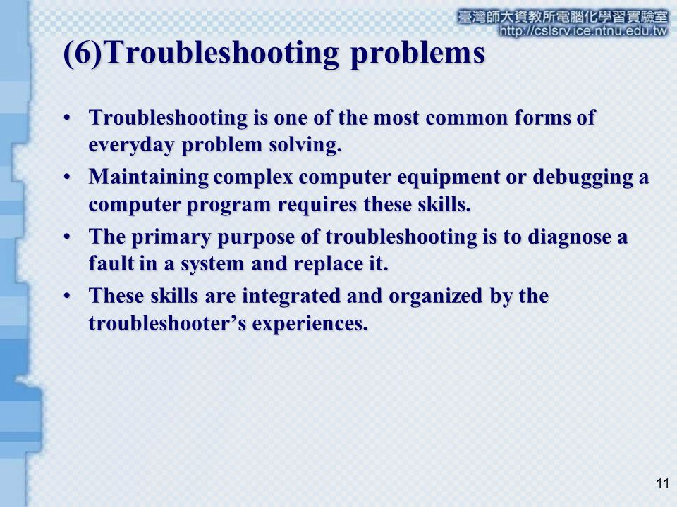(6)Troubleshooting problems