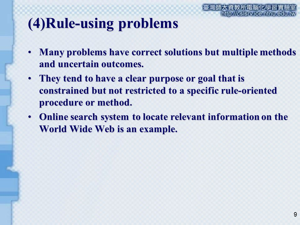 (4)Rule-using problems