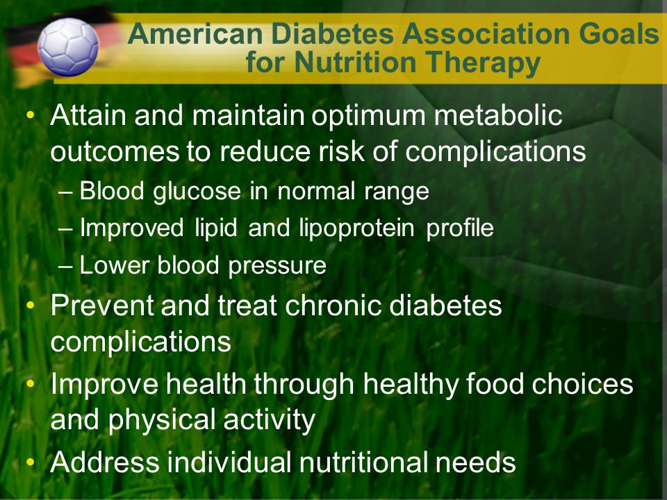 American Diabetes Association Goals for Nutrition Therapy