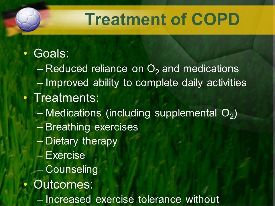 Treatment of COPD Goals: Treatments: Outcomes: