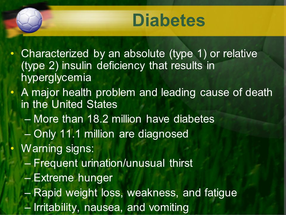 Diabetes Characterized by an absolute (type 1) or relative (type 2) insulin deficiency that results in hyperglycemia.