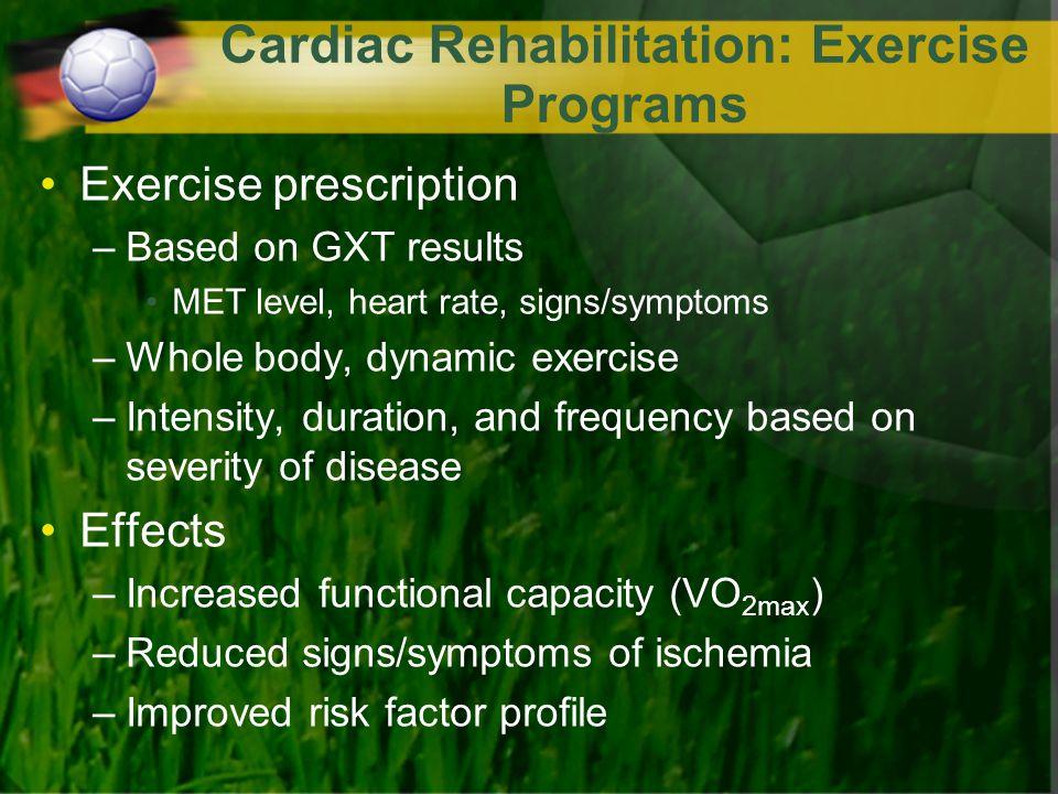 Cardiac Rehabilitation: Exercise Programs