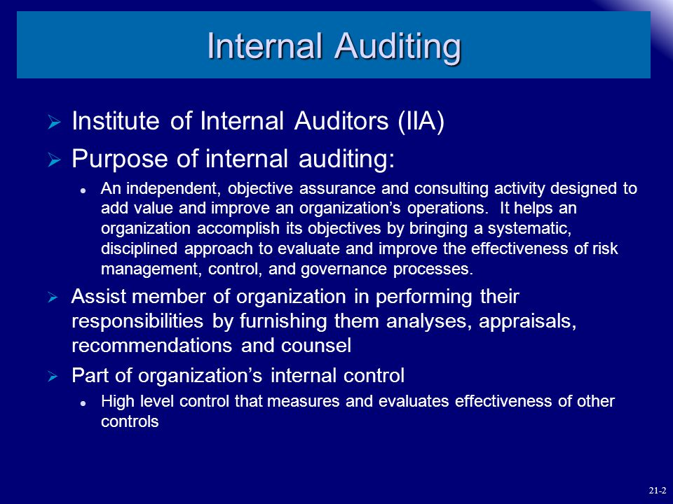 Internal Auditing Institute of Internal Auditors (IIA)