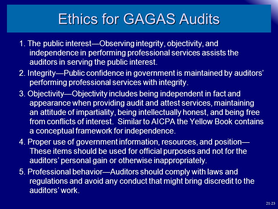 Ethics for GAGAS Audits