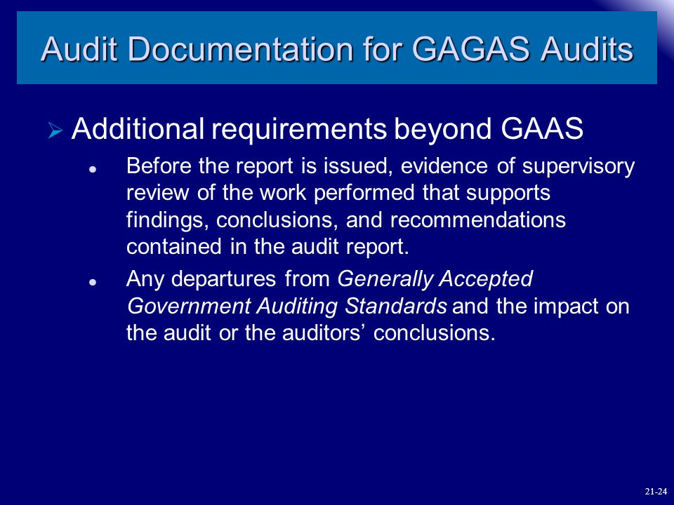 Audit Documentation for GAGAS Audits