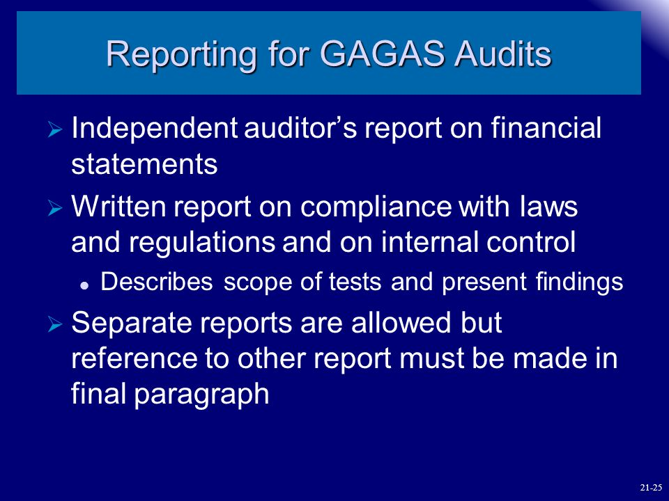 Reporting for GAGAS Audits
