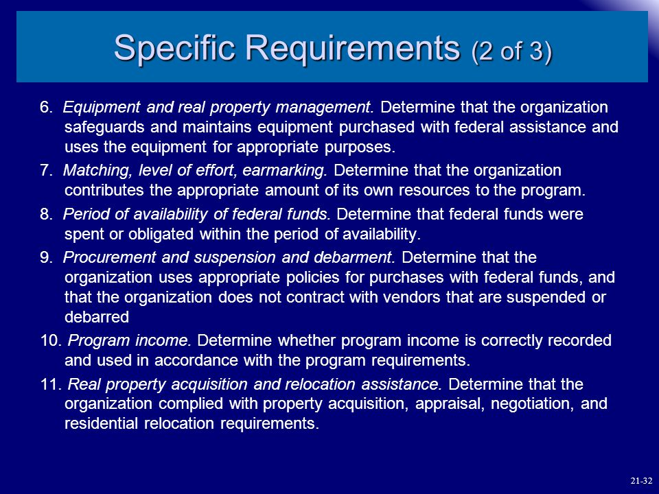 Specific Requirements (2 of 3)