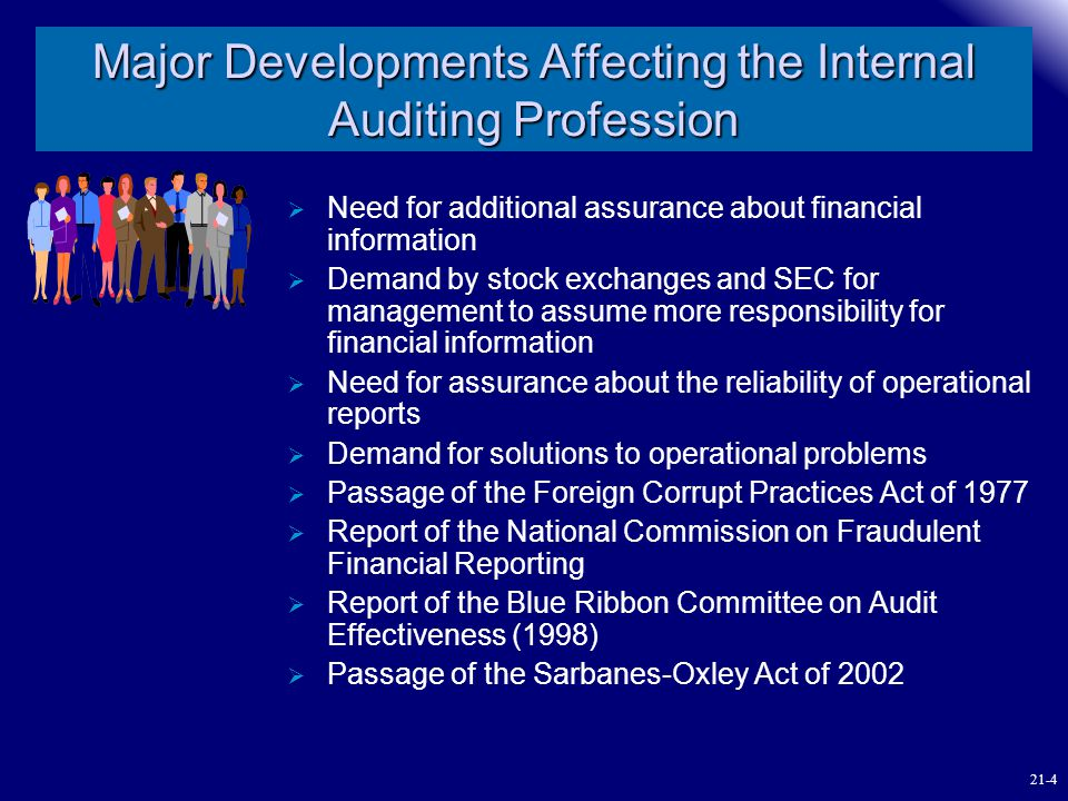 Major Developments Affecting the Internal Auditing Profession