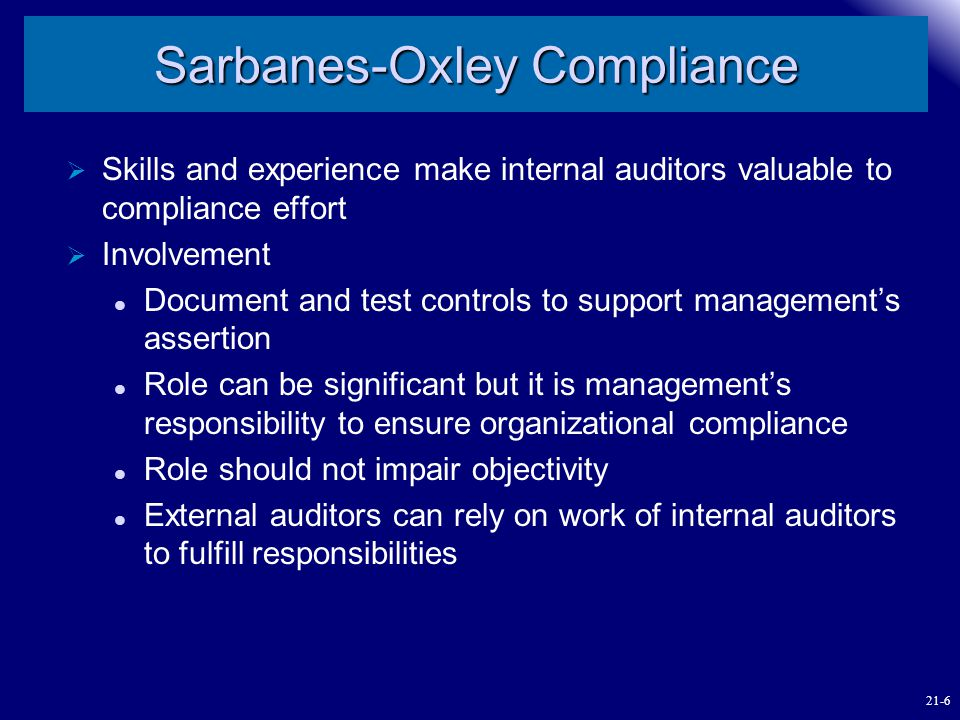 Sarbanes-Oxley Compliance