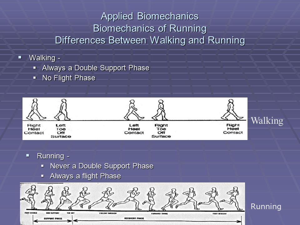 Applied Biomechanics Biomechanics of Running Differences Between Walking and Running
