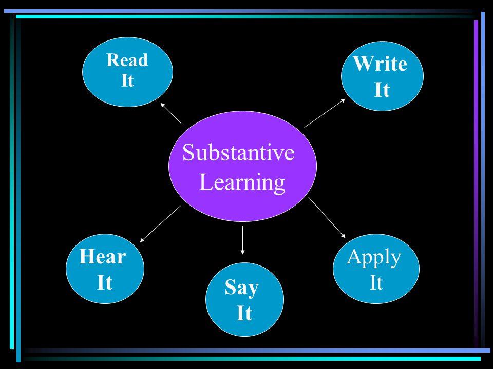 Read It Write It Substantive Learning Hear It Apply It Say It