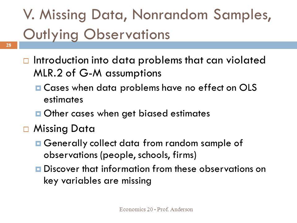 V. Missing Data, Nonrandom Samples, Outlying Observations