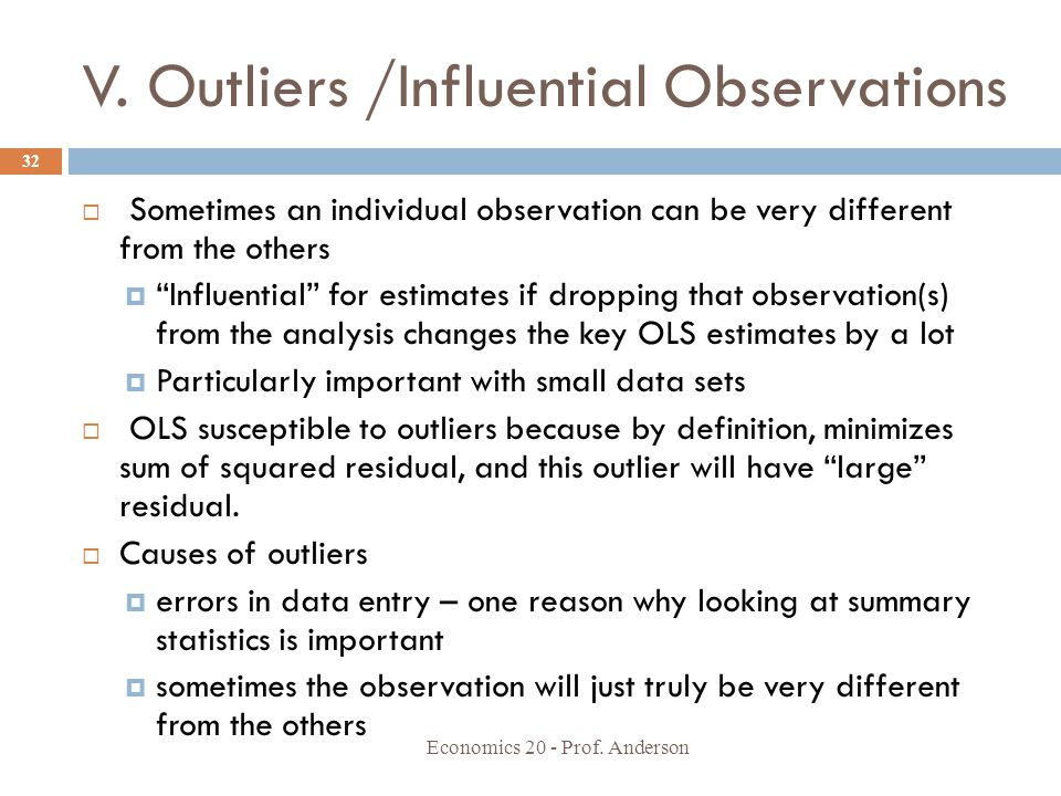 V. Outliers /Influential Observations