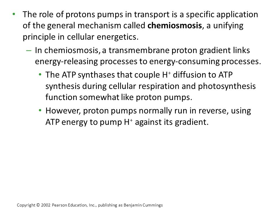 The role of protons pumps in transport is a specific application of the general mechanism called chemiosmosis, a unifying principle in cellular energetics.