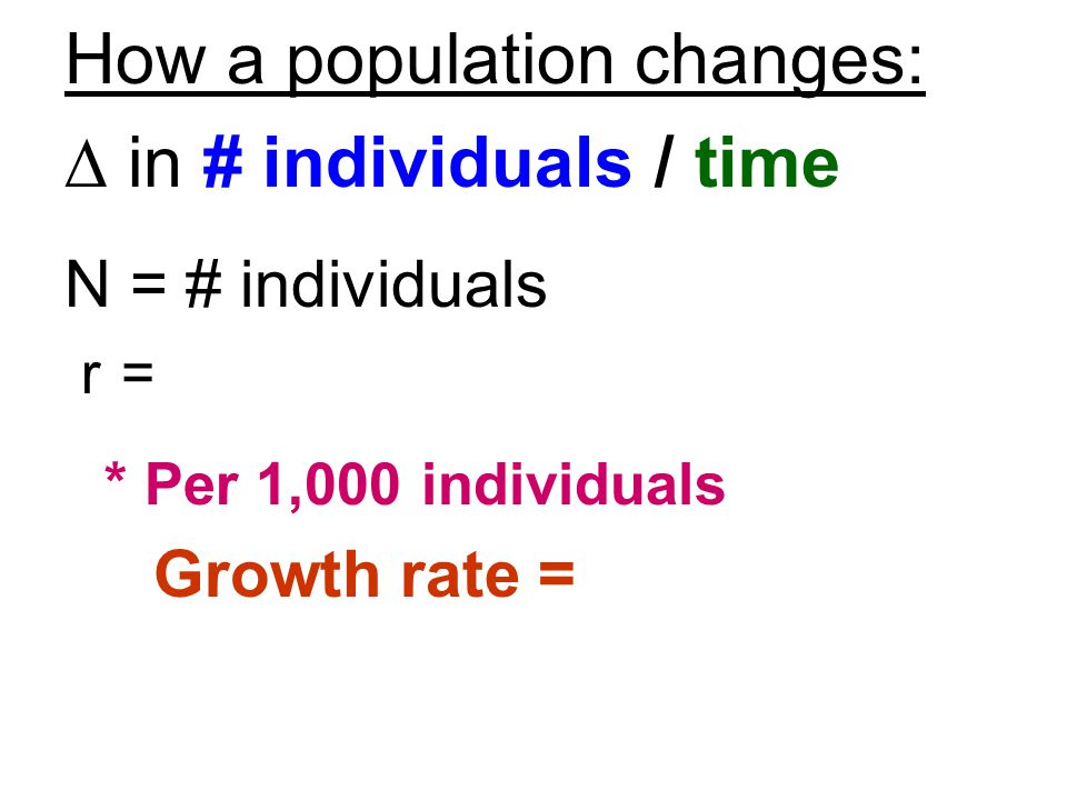 How a population changes: D in # individuals / time