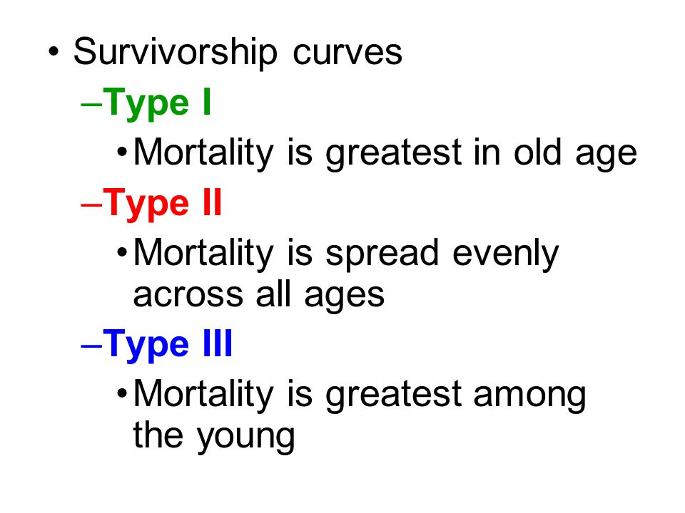Survivorship curves Type I. Mortality is greatest in old age. Type II. Mortality is spread evenly across all ages.