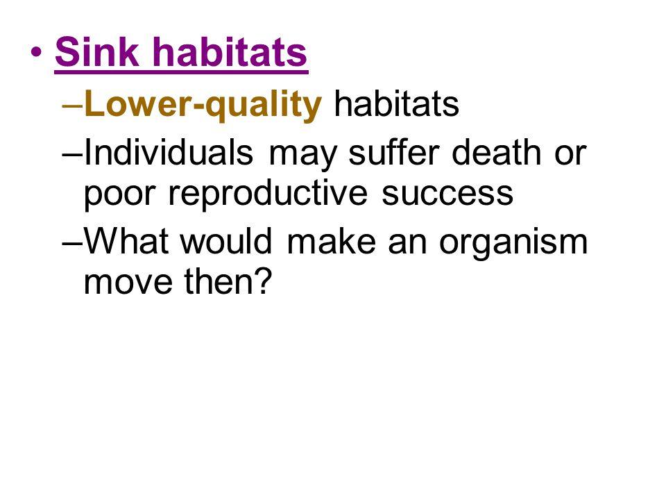 Sink habitats Lower-quality habitats
