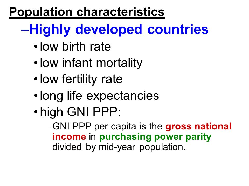 Highly developed countries