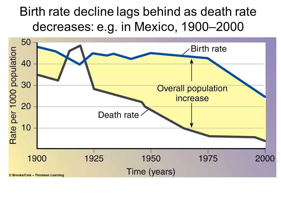 Birth rate decline lags behind as death rate decreases: e. g