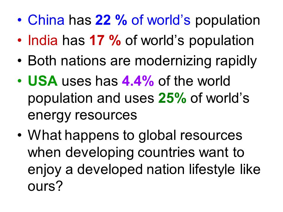 China has 22 % of world's population