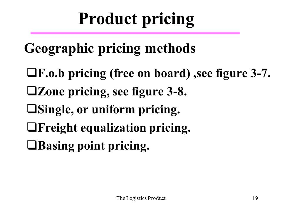 Product pricing Geographic pricing methods