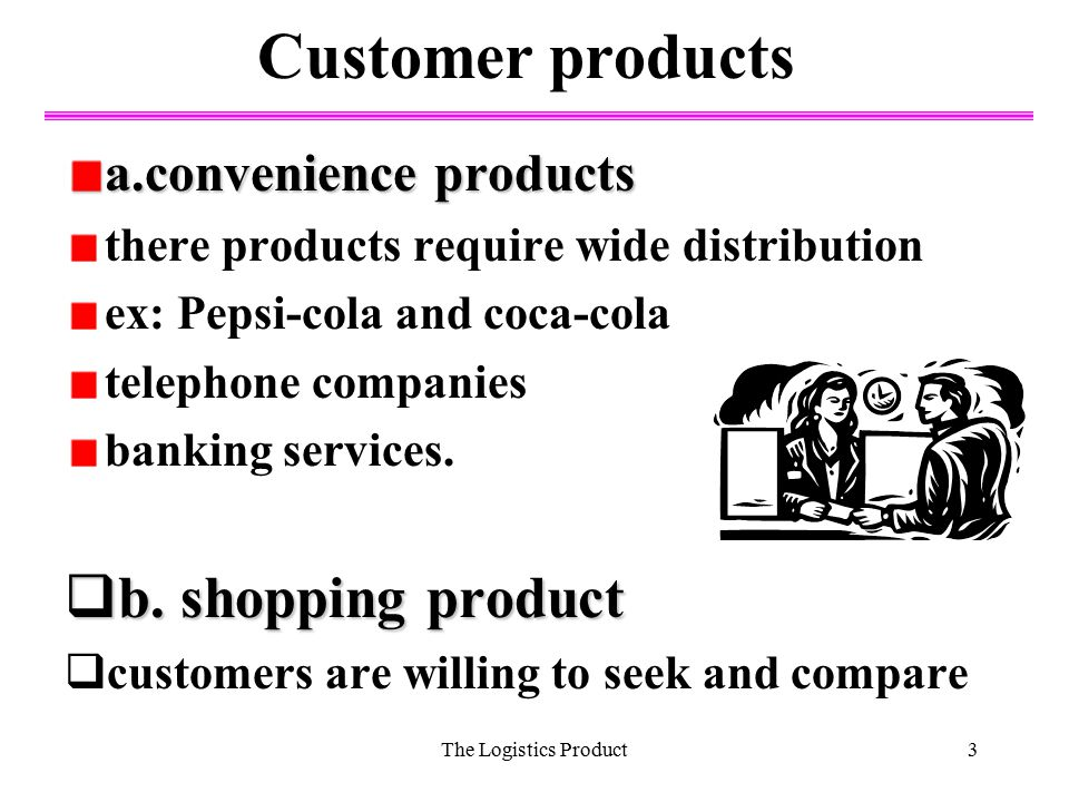 Customer products b. shopping product a.convenience products