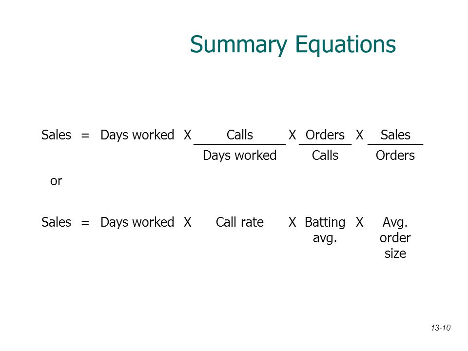 Summary Equations Sales = Days worked X Calls Orders or Call rate