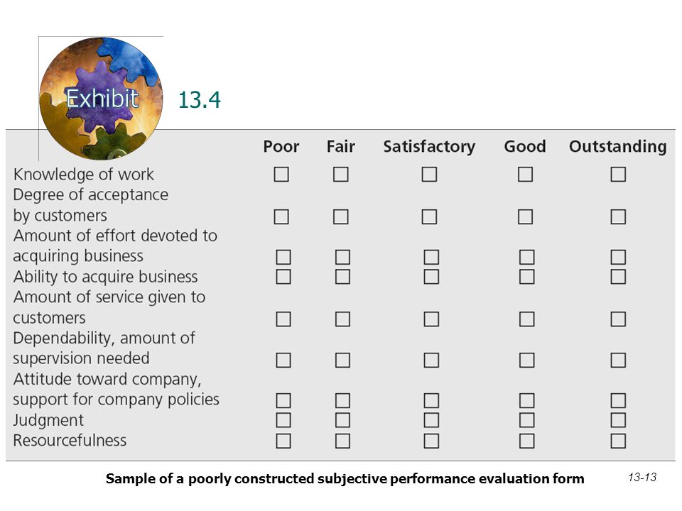 13.4 Sample of a poorly constructed subjective performance evaluation form 13-13
