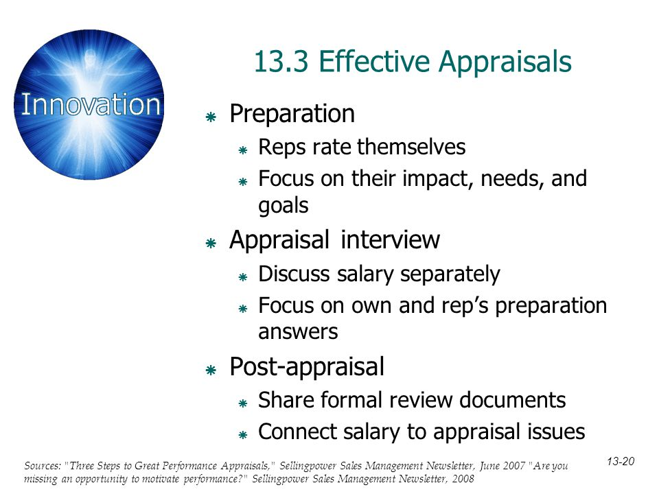 13.3 Effective Appraisals Preparation Appraisal interview