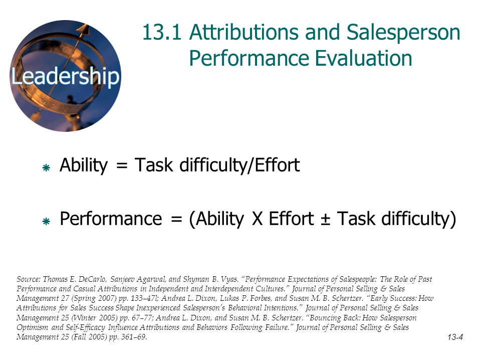 13.1 Attributions and Salesperson Performance Evaluation