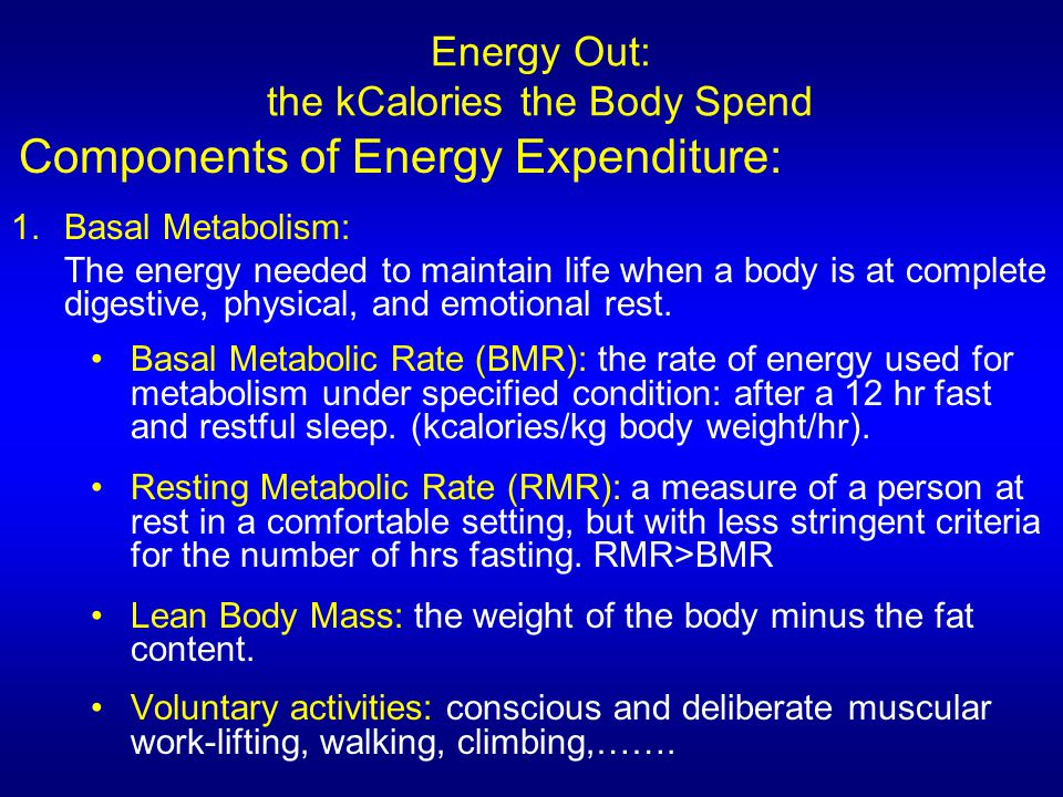 Energy Out: the kCalories the Body Spend