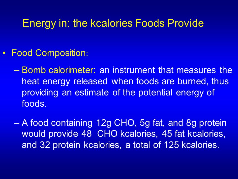 Energy in: the kcalories Foods Provide